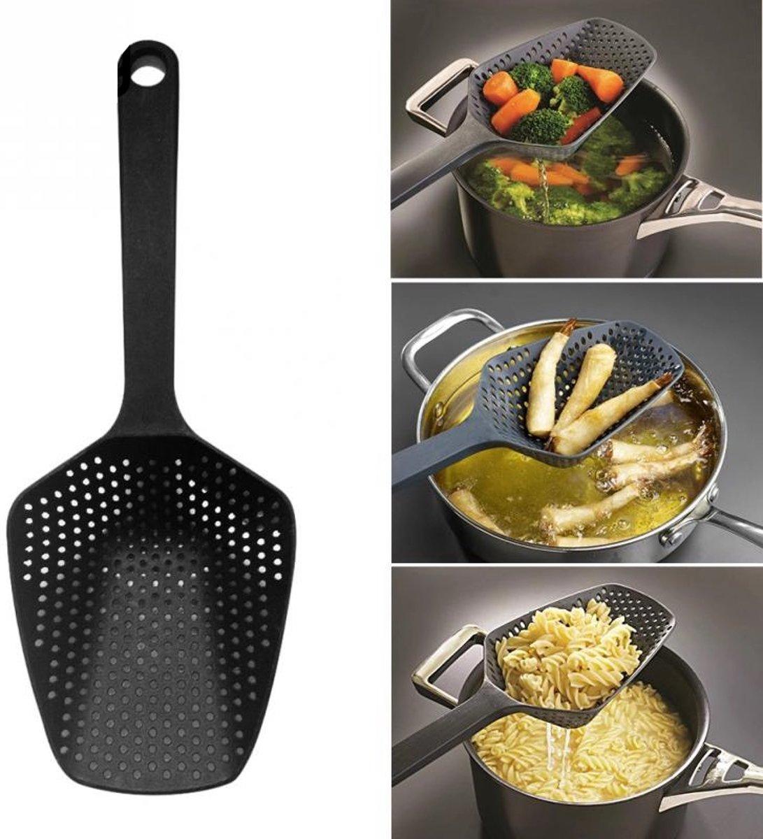 Keuken Zeef & Schep ( 2 in 1) | Vergiet | Makkelijk afgieten | Afgiet Schep | Afgieten | Koken | Pan | Handig | Afgietdeksel | Groente | Pasta | Frietjes | Koken kopen