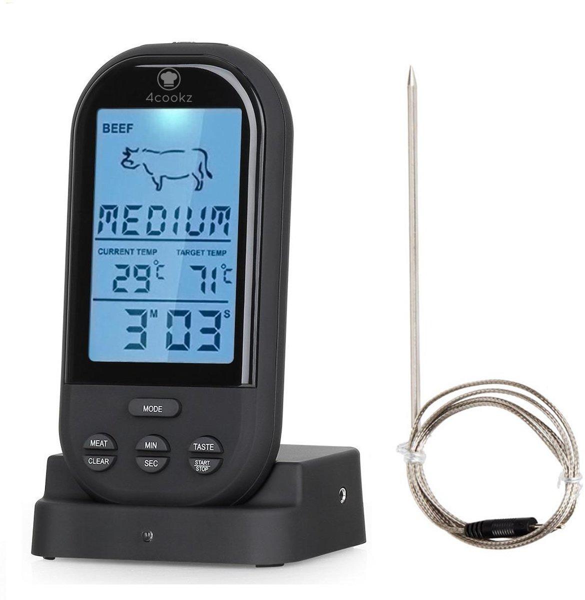 4cookz Draadloze vleesthermometer/BBQ thermometer - Zwart - 0° - 250° kopen