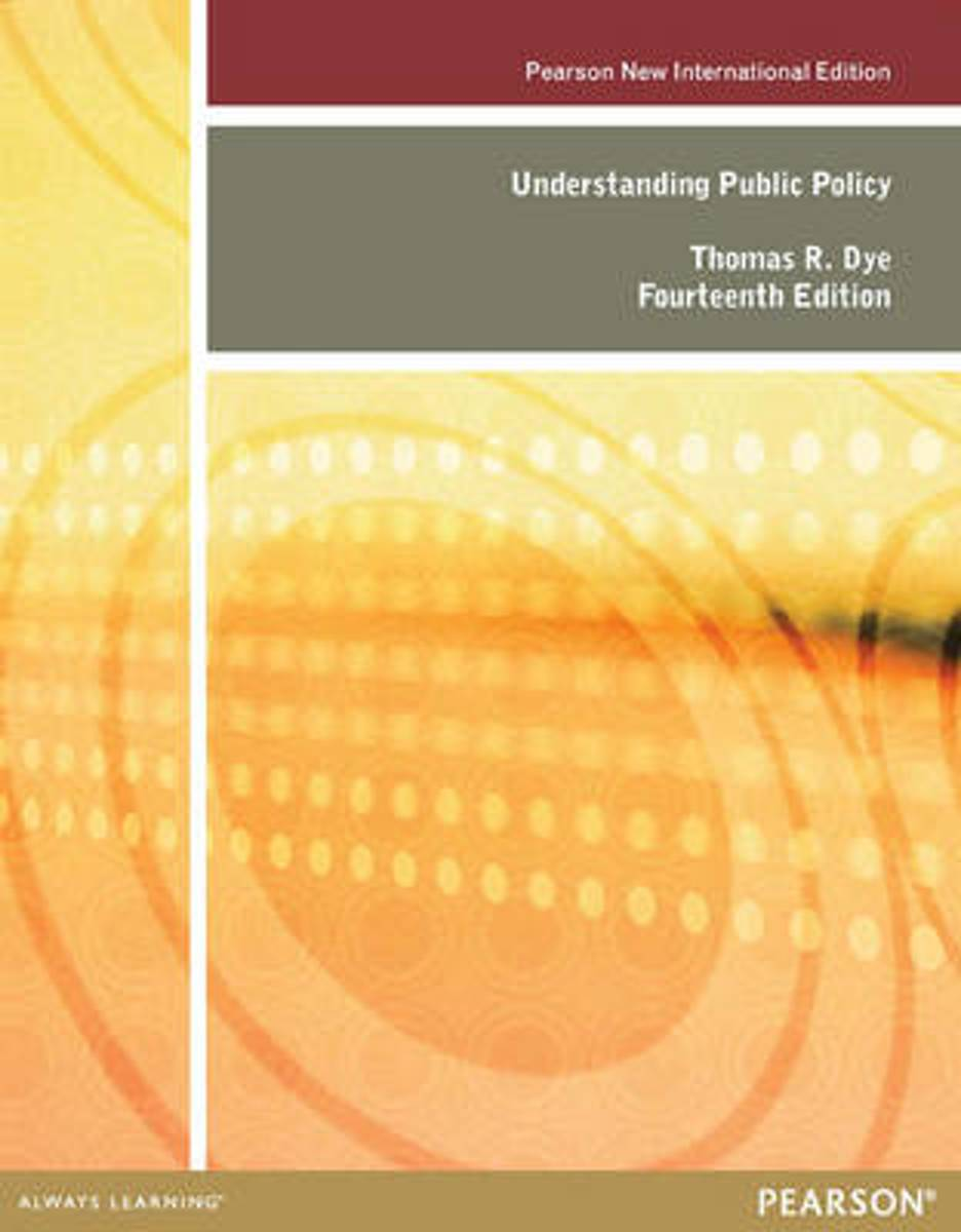 bol.com | Understanding Public Policy: Pearson International Edition |  9781292026923 | Thomas.