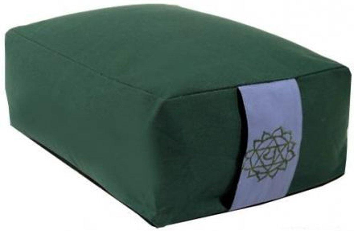 Meditatiekussen/bolster groen 4e chakra (38x28x15 cm) kopen