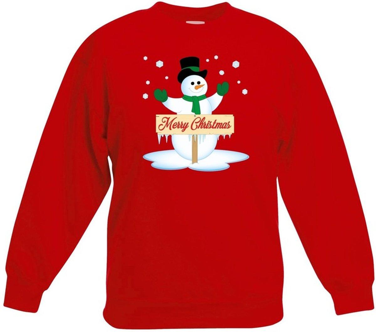 Rode kersttrui met sneeuwpop voor jongens en meisjes - Kerstruien kind 3-4 jaar (98/104) kopen