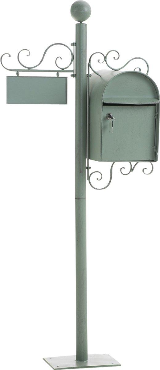 Clp Brievenbus CHARLIZE, vrijstaande nostalgische brievenbus, mailbox, 150 cm, met naamplaatje, ontwerp nostalgisch antiek - antiek-groen