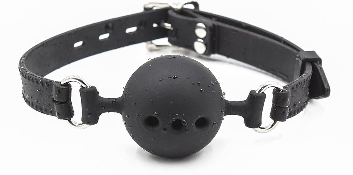 Foto van Banoch - ball gag siliconen medium - zwart Ø 4,5 cm met luchtgaten