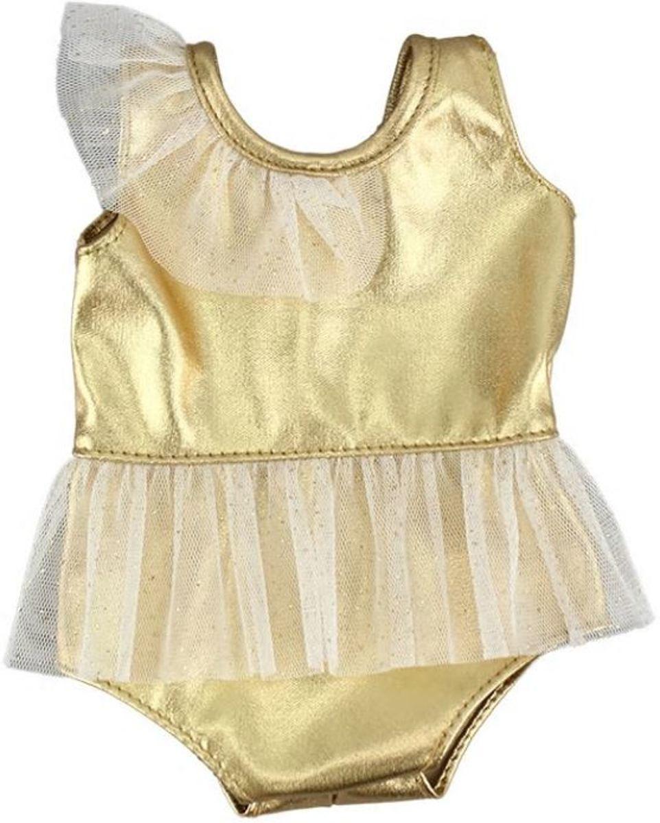 Voor de Pop | Glimmende Gouden Balletpakje Met Tutu | Zwempak | Babypop | Baby Born | Poppenkleertjes | Poppenkleding | 43cm