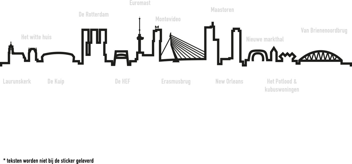 Muurstickers Winkel Rotterdam.Bol Com Muursticker Skyline Rotterdam