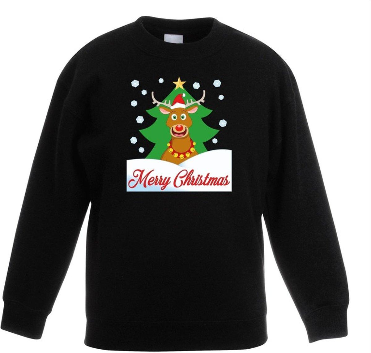 Zwarte kersttrui rendier Rudolf voor kerstboom voor jongens en meisjes - Kerstruien kind 3-4 jaar (98/104) kopen
