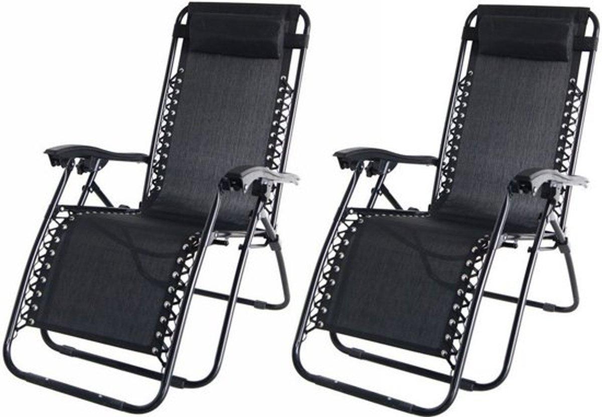Maxx 2x Ligstoel - Tuinstoel Textoline zwart kopen