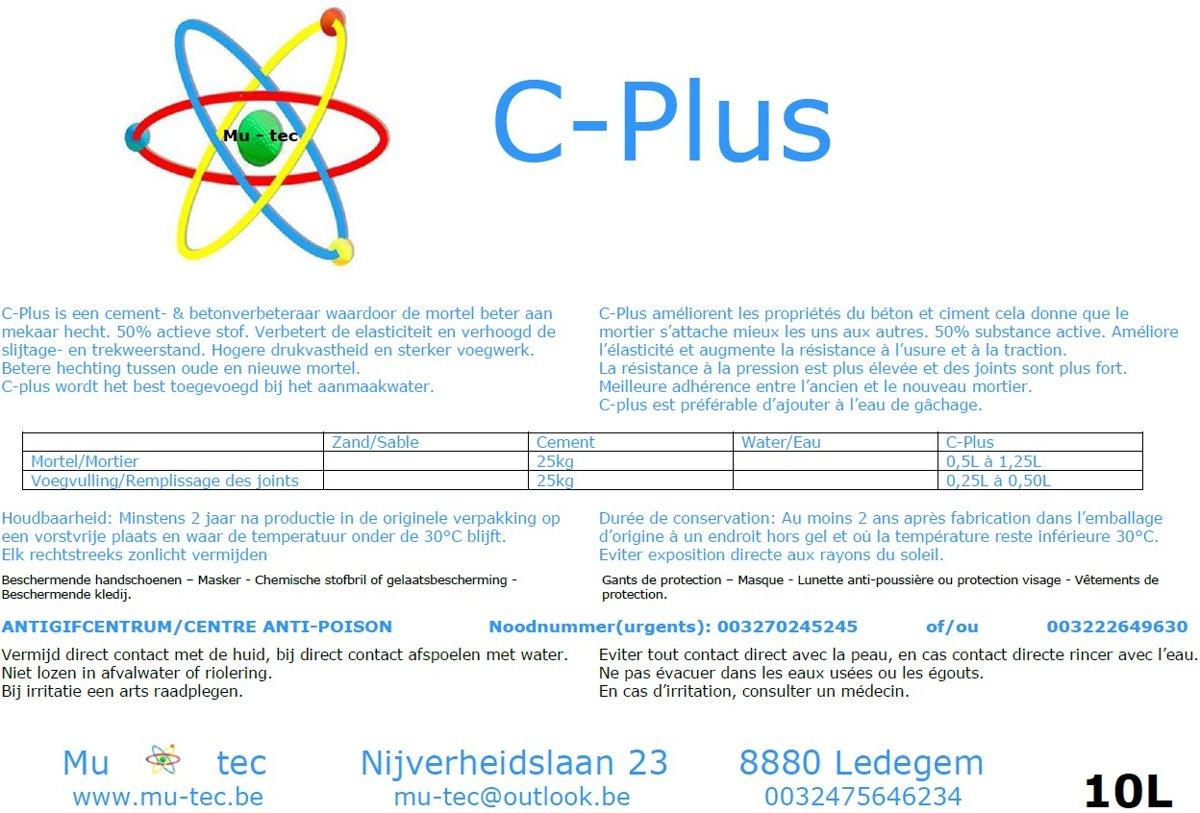 C-Plus zorgt voor een betere hechting van de mortel - Betonverbeteraar met 50% actieve werkzame stoffen. kopen