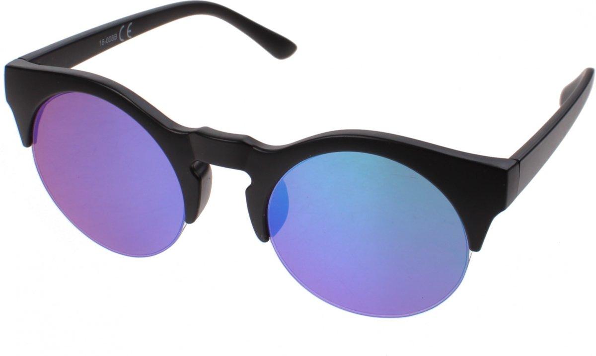 Kost Zonnebril Unisex Zwart Met Blauwgroene Lens (16-008b)