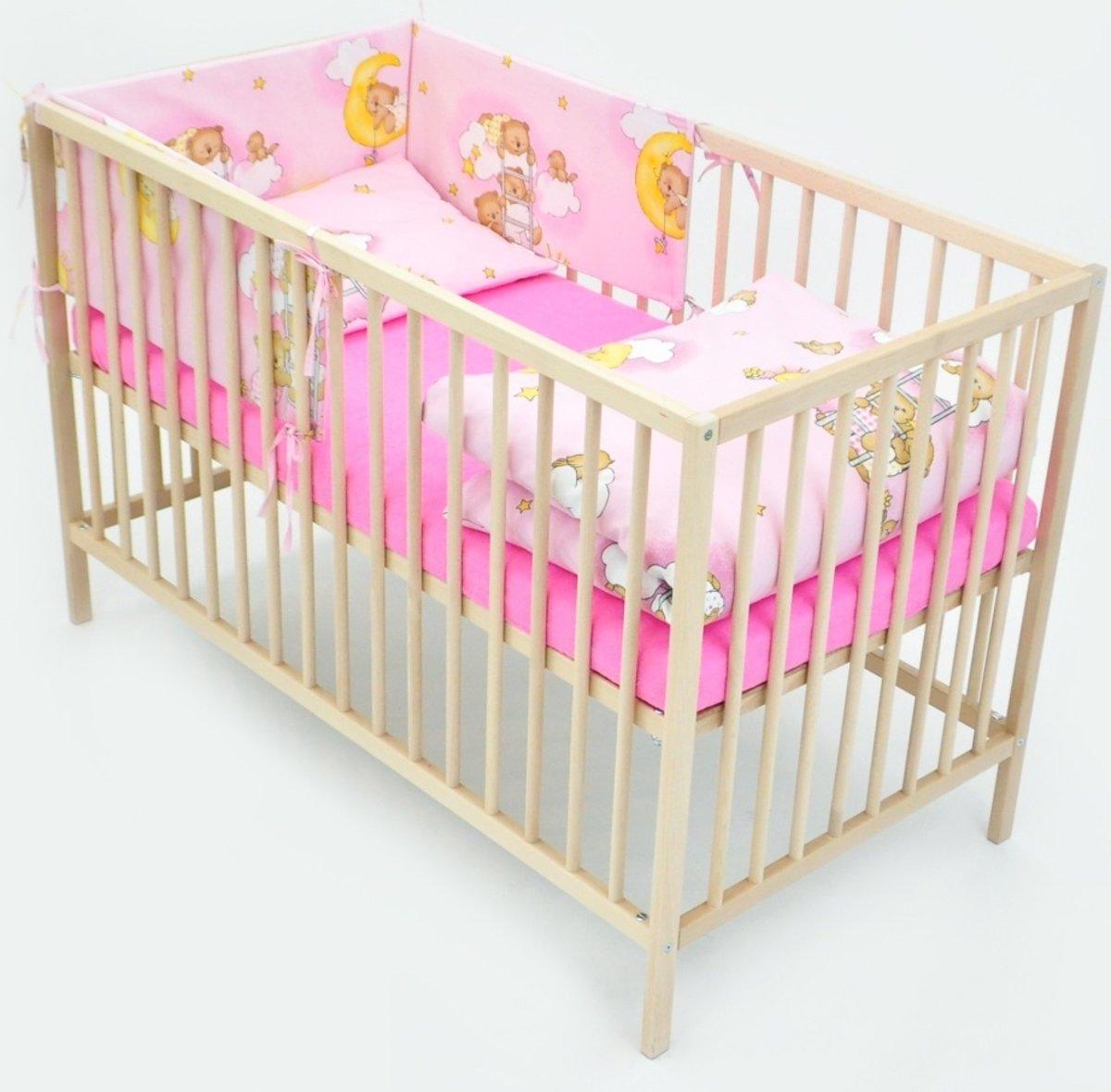Beddengoed set - 6 delig - voor 120x60cm ledikant - beertjes met hemel roze kopen