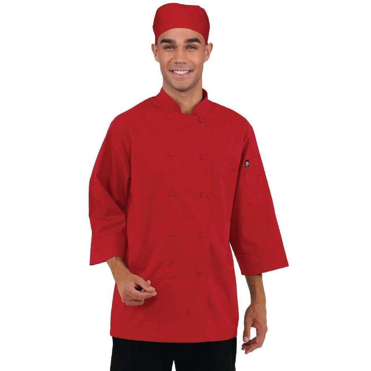 Chef Works gekleurde koksbuis 3/4 mouw rood Maat XL kopen
