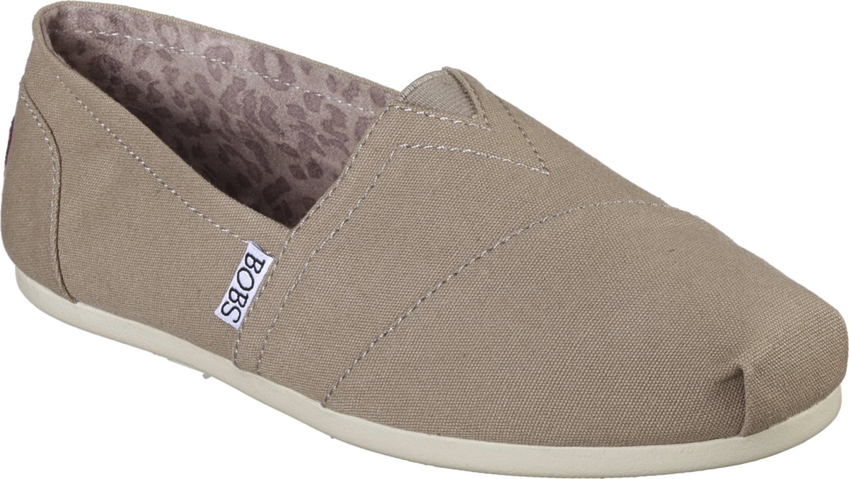 Skechers Bobs Plush Peace & Love Instappers Dames Taupe Maat 36
