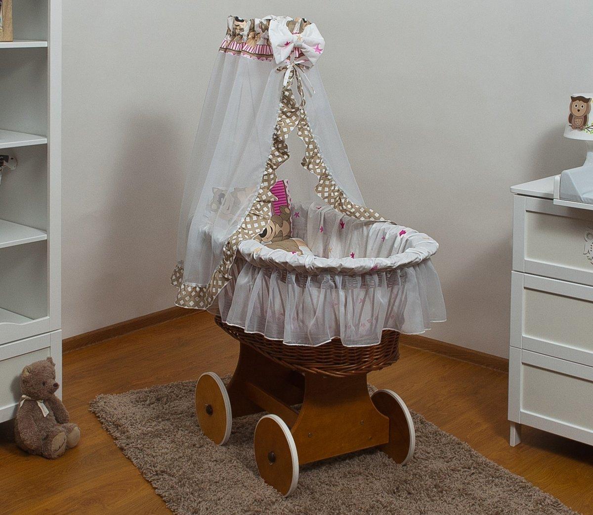 Rotan baby wiegje - Incl. beddengoedset, hemel met sluier, onderstel met wieltjes - 100% katoen - teddybeer beige kopen