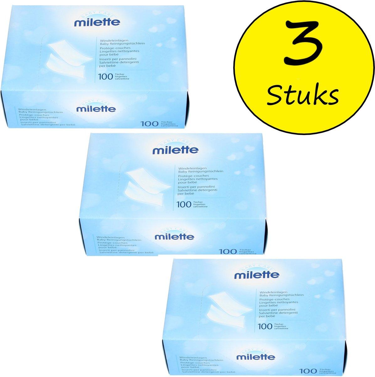 Milette Babycare Parfum en Vochtvrije Babydoekjes 3 Dozen (300 Doekjes) – 23x33cm | Huidvriendelijke Babyverzorgingsproducten | Luierinleg Doekjes kopen