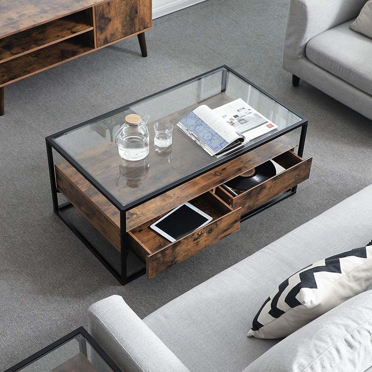 Design Salontafel Hout En Glas.Salontafel Met Strak Design Houten Koffie Tafel Met Gehard Glas En Twee Rustieke Lades 106 Cm Lang