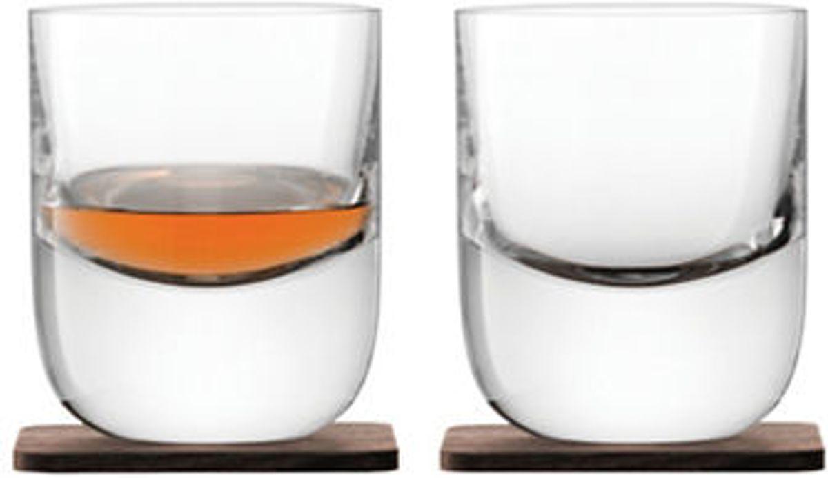 L.S.A. Whiskyglazen  Renfrew - Set van 2 stuks - 270 ml - Incl. Walnoten onderzetters kopen