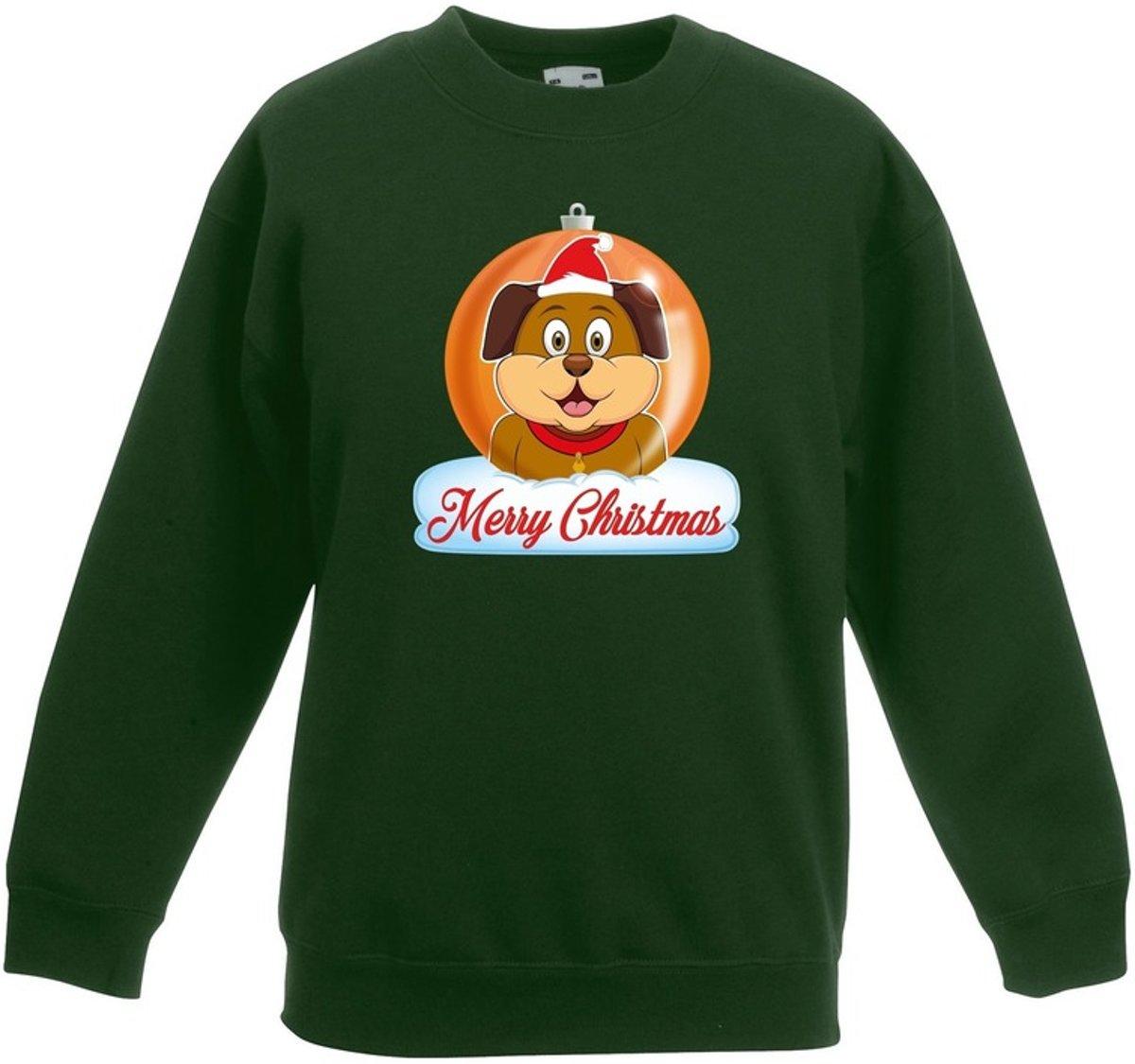 Kersttrui Merry Christmas hond kerstbal groen jongens en meisjes - Kerstruien kind 9-11 jaar (134/146) kopen
