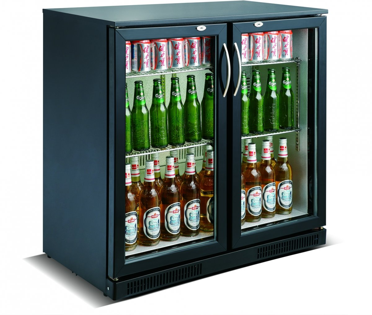 Horeca Drank Bar Koeling 2 Glasdeuren Zwart | 198 Liter kopen
