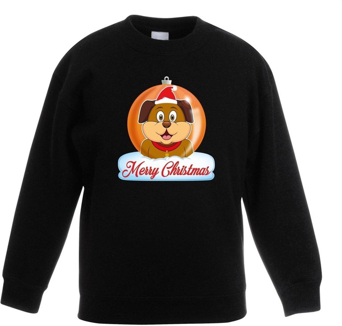 Kersttrui Merry Christmas hond kerstbal zwart jongens en meisjes - Kerstruien kind 12-13 jaar (152/164) kopen