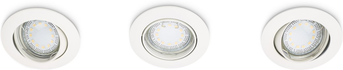 Prolight inbouwspots - set 3 stuks - LED GU10 - 3x3,3W - rond - kantelbaar - wit kopen