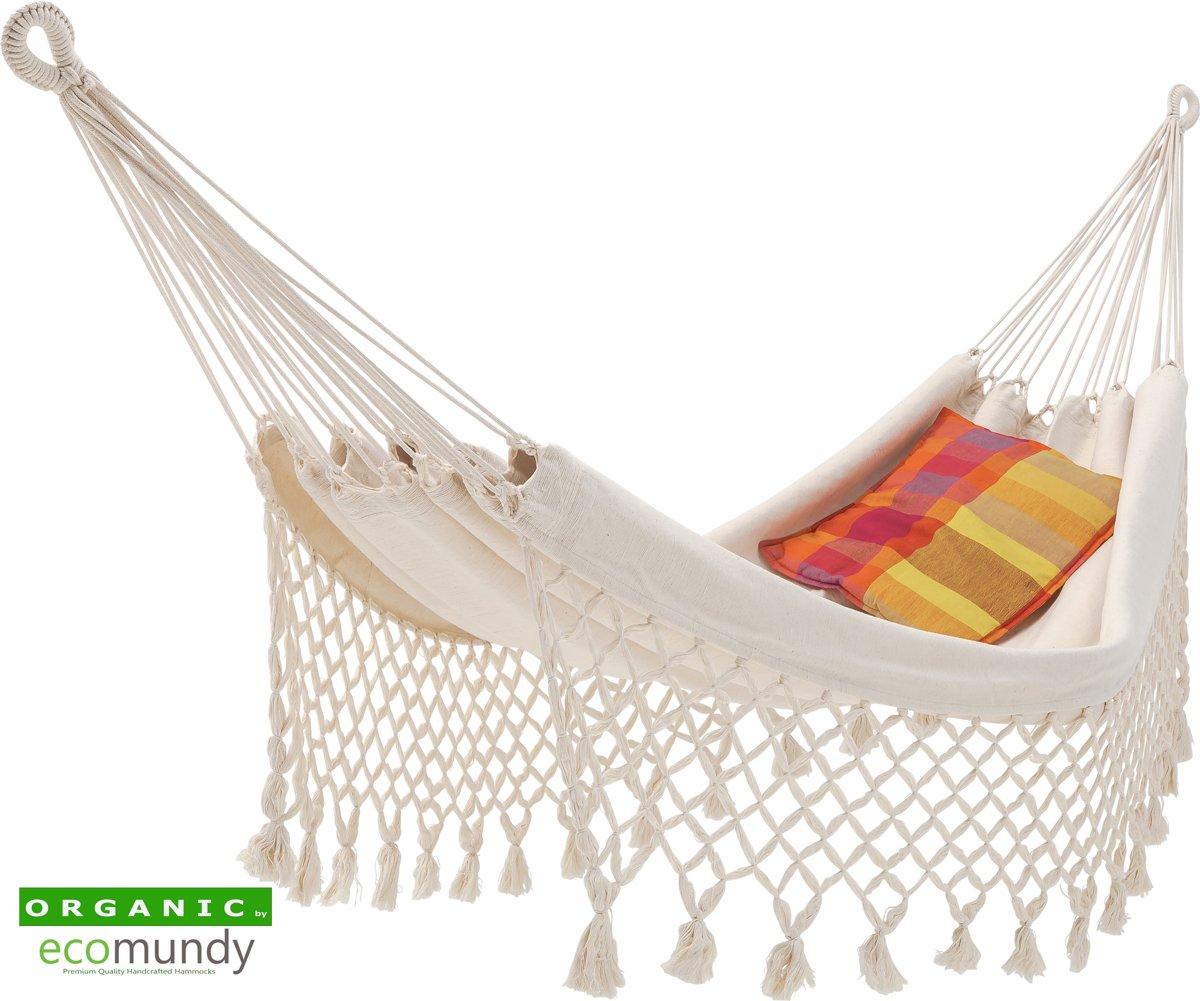 Luxe hangmat met franje - BIO katoen - GOTS - Ecomundy Romance L (130x200x320cm)