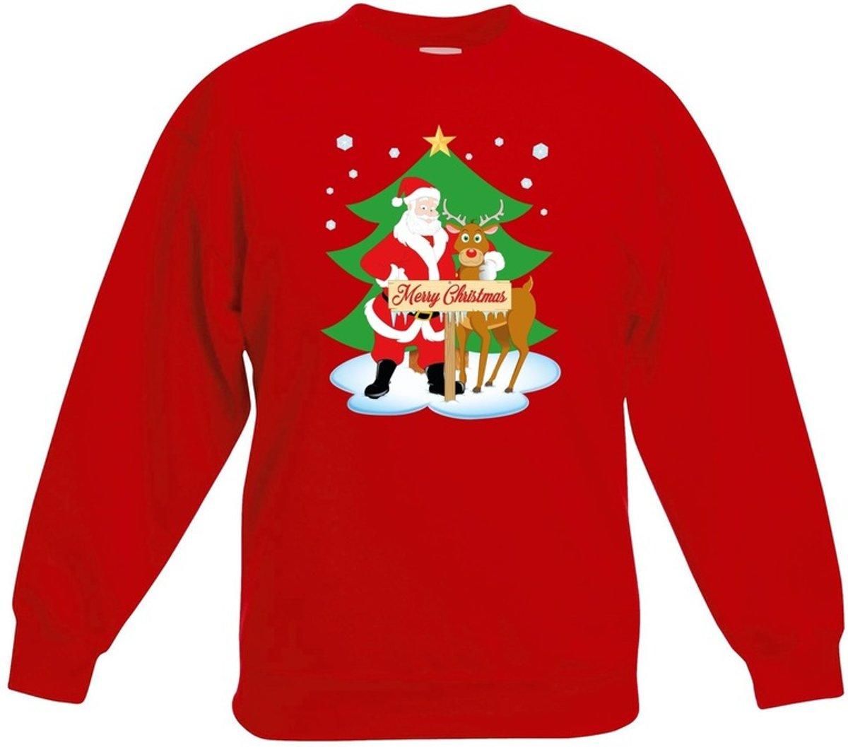Rode kersttrui kerstman en rendier Rudolf voor kerstboom voor jongens en meisjes - Kerstruien kind 5-6 jaar (110/116) kopen