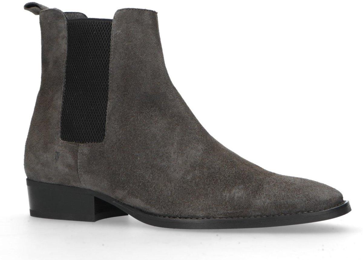 | Manfield Heren Grijze suède chelsea boots