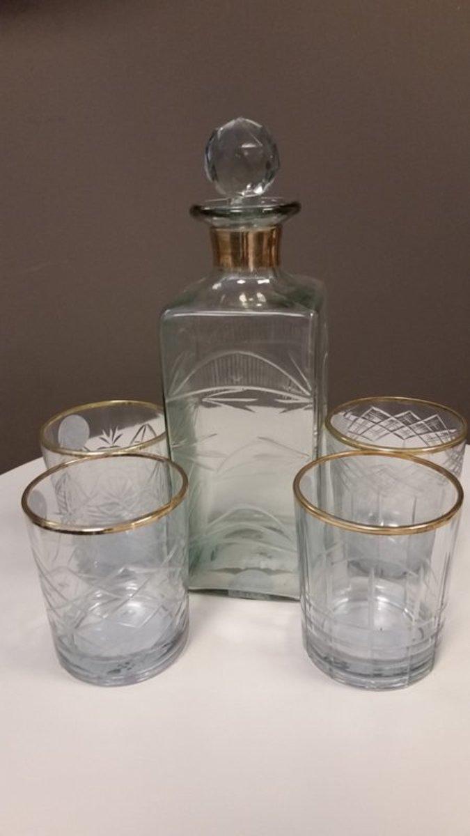Whiskey set - Mannen Cadeau - 4 glazen - 1 karaf - Glas - Goud kopen