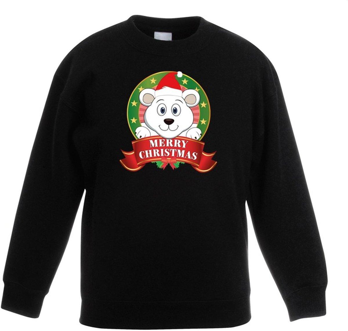 Zwarte kersttrui met een ijsbeer jongens en meisjes - Kerstruien kind 5-6 jaar (110/116) kopen