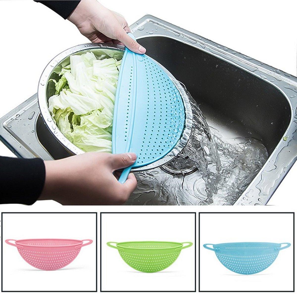 Afgiet deksel | afgietdeksel pan | afgiethulp | Keuken zeef | pannen zeef | Blauw kopen
