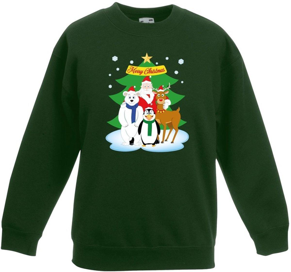 Groene kersttrui met de kerstman en zijn dieren vriendjes voor jongens en meisjes - Kerstruien kind 9-11 jaar (134/146) kopen
