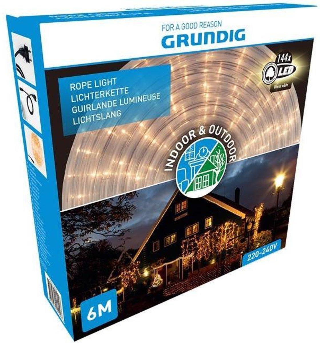 Grundig Lichtslang 6 meter - 144 LED - warm wit kopen