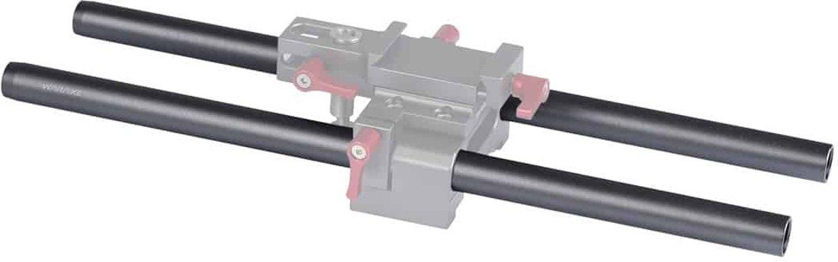 2 STUKS WARAXE 2637 Diameter 15mm Lengte 200mm Aluminium Stangen voor 15mm Rod Rail Ondersteuning Systeem (Zwart) kopen