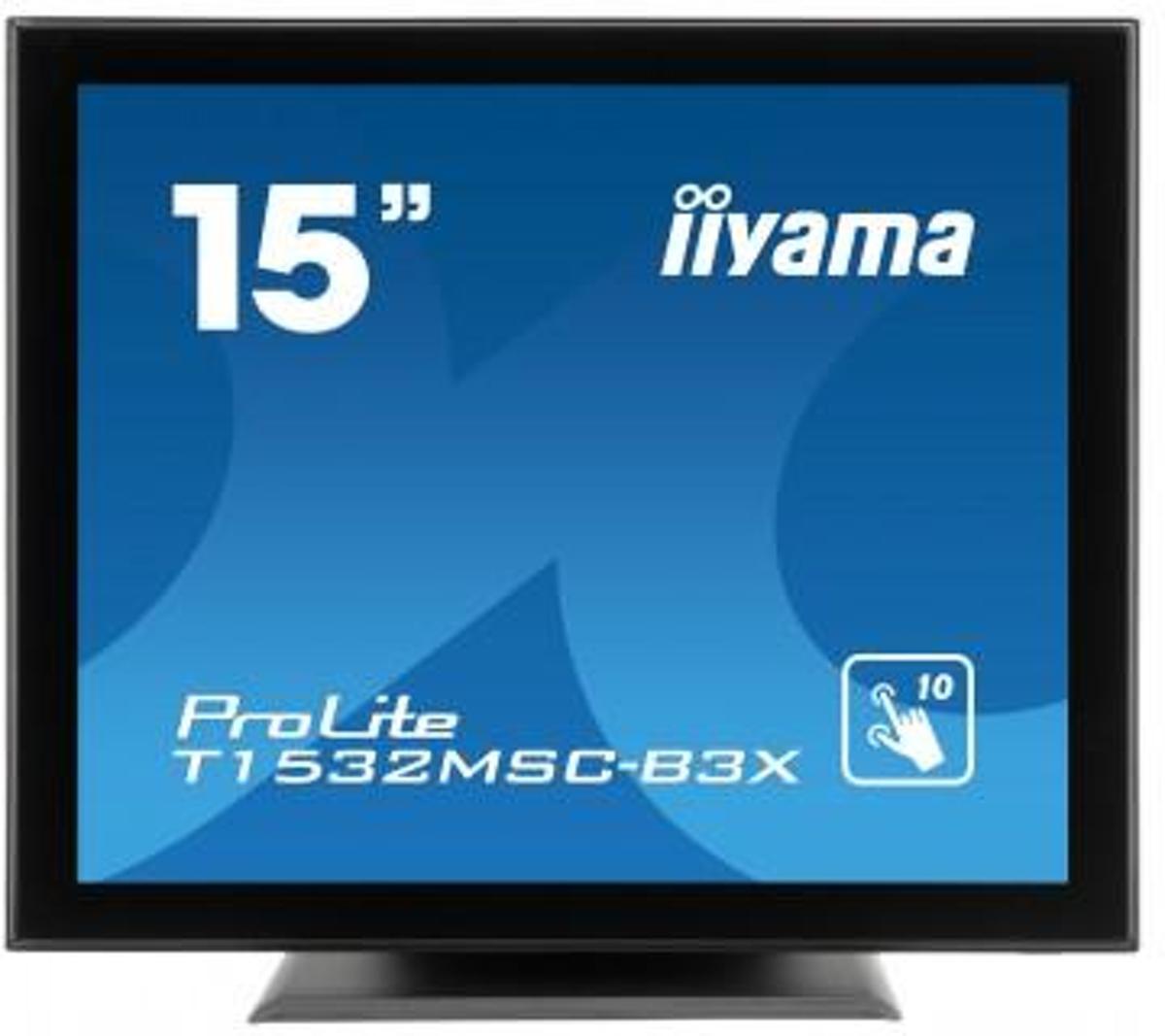 iiyama ProLite T1532MSC-B3X 15'' 1024 x 768Pixels Multi-touch Tafelblad Zwart touch screen-monitor