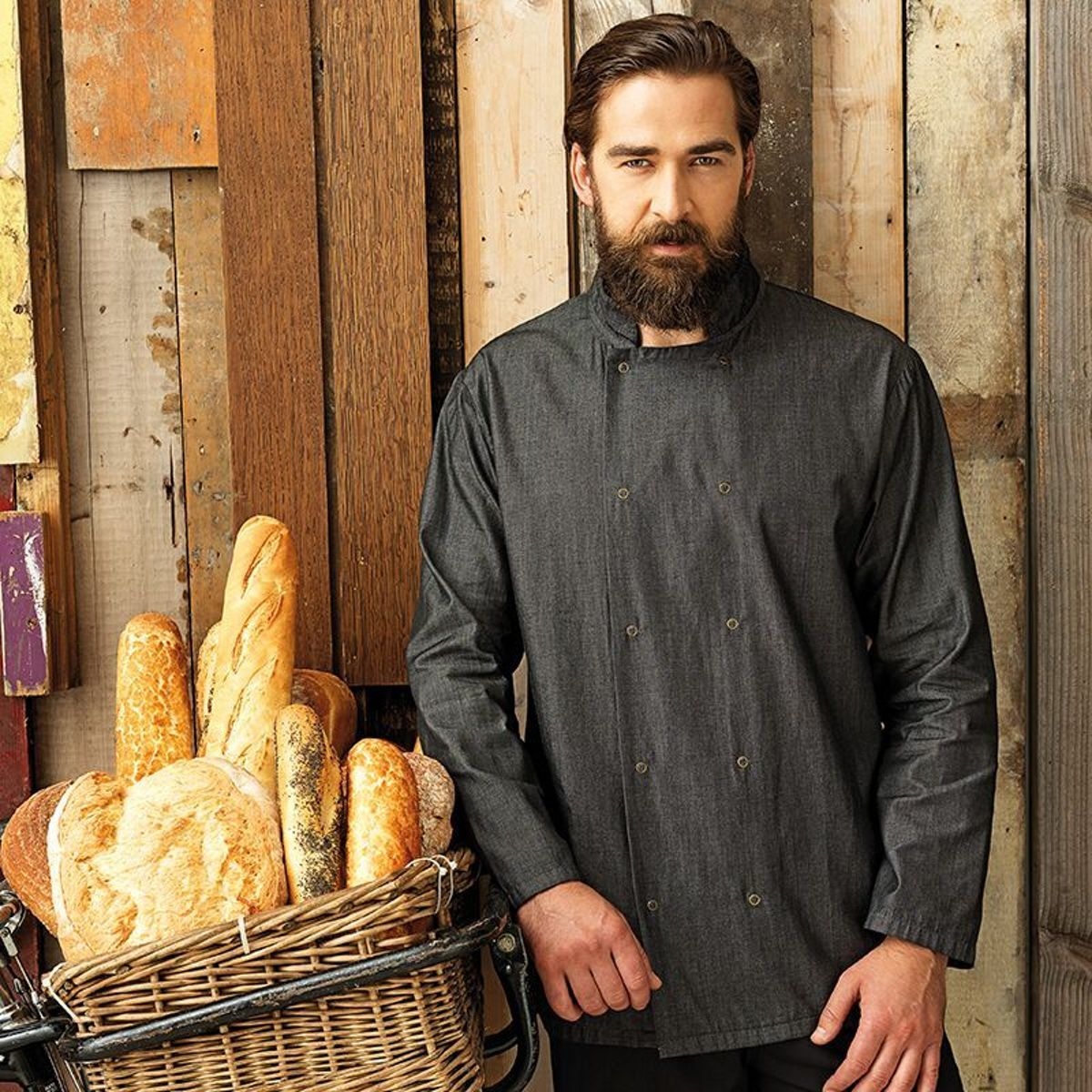 Denim chef's jacket, Kleur Grey Denim, Maat M kopen