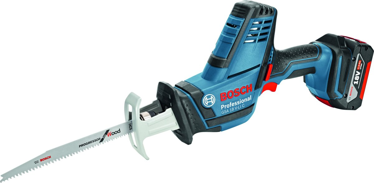 Bosch Professional GSA 18 V-LI C Accu reciprozaag - Met 2x 5,0Ah accu's, GAL 1880 CV snellader en L-BOXX