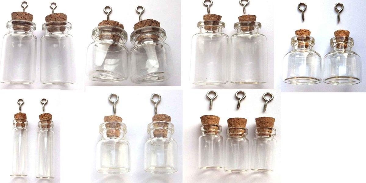 15 Mini flesjes - Hangers in verschillende maten - Met kurk kopen