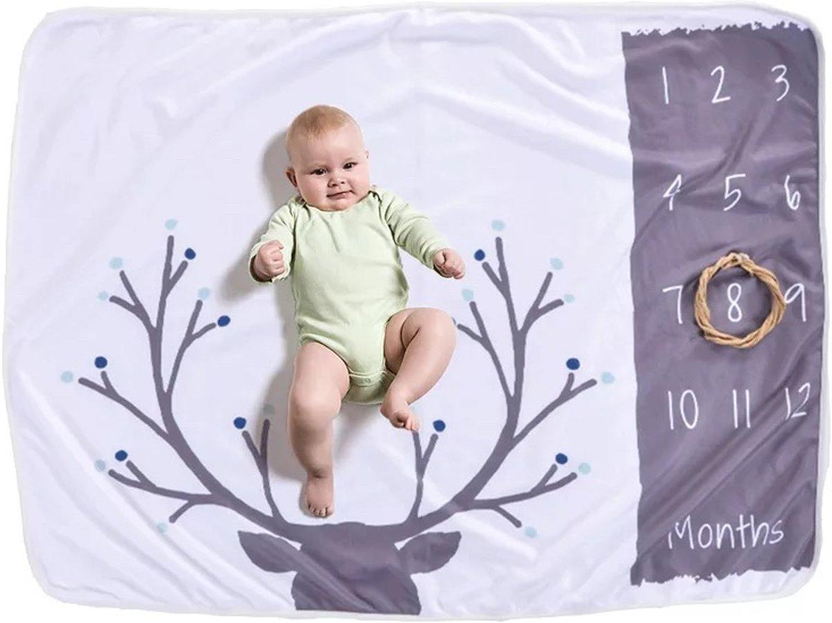 Mijlpaal deken voor baby's - Mijlpaal deken - Mijlpaaldeken - I am milestone deken - Milestone babydoek - Baby milestone pakket - Fotodeken - Fotoherinnering - Unisex - Het leukste kraamcadeau van 2019 - Babyshower cadeau