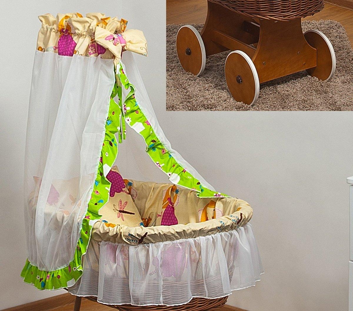 Rotan baby wiegje - Incl. beddengoedset, hemel met sluier, onderstel met wieltjes - 100% katoen - toverfee kopen