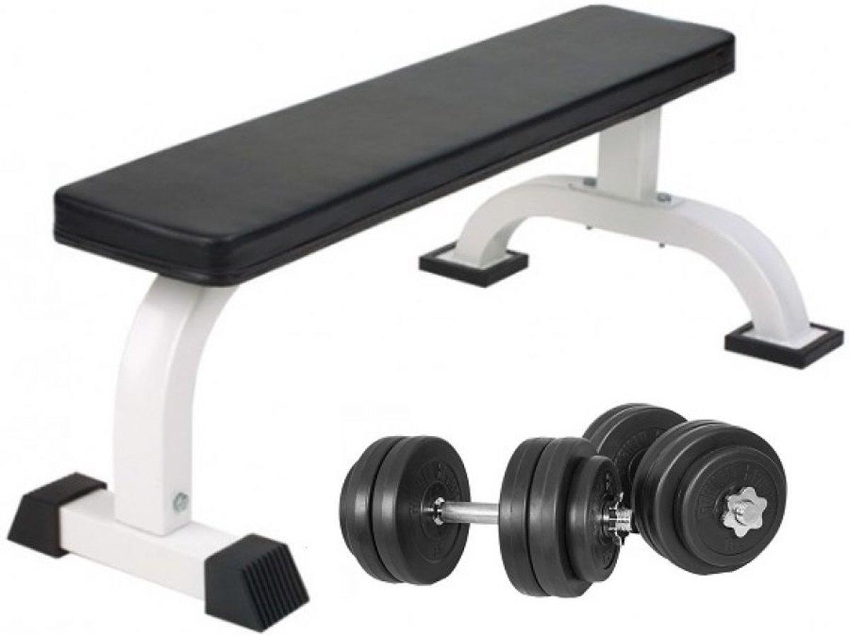 Gorilla Sports Vlakke Fitnessbank Incl. Dumbellset 30 kg Kunststof kopen