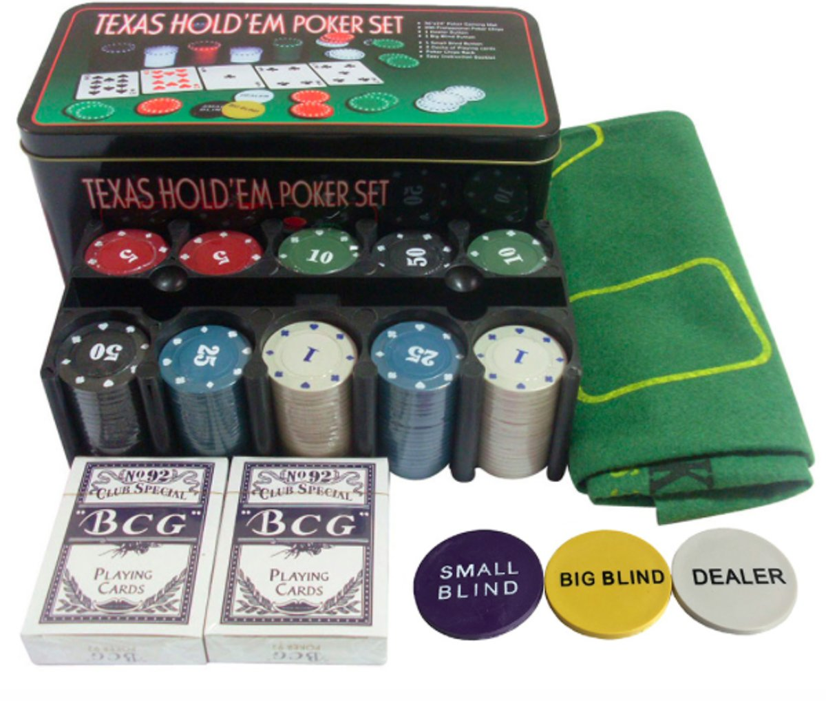 Luxe Pokerset met Chips Speelkaarten en Speelmat – Texas hold'em of Blackjack kopen