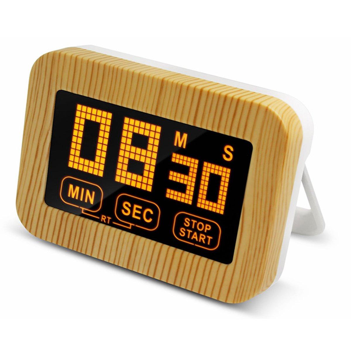 Krumble digitale kookwekker houtlook / Minuten en secondes instellen / LED verlichting / Met verlichte cijfers - Wit met bruin kopen