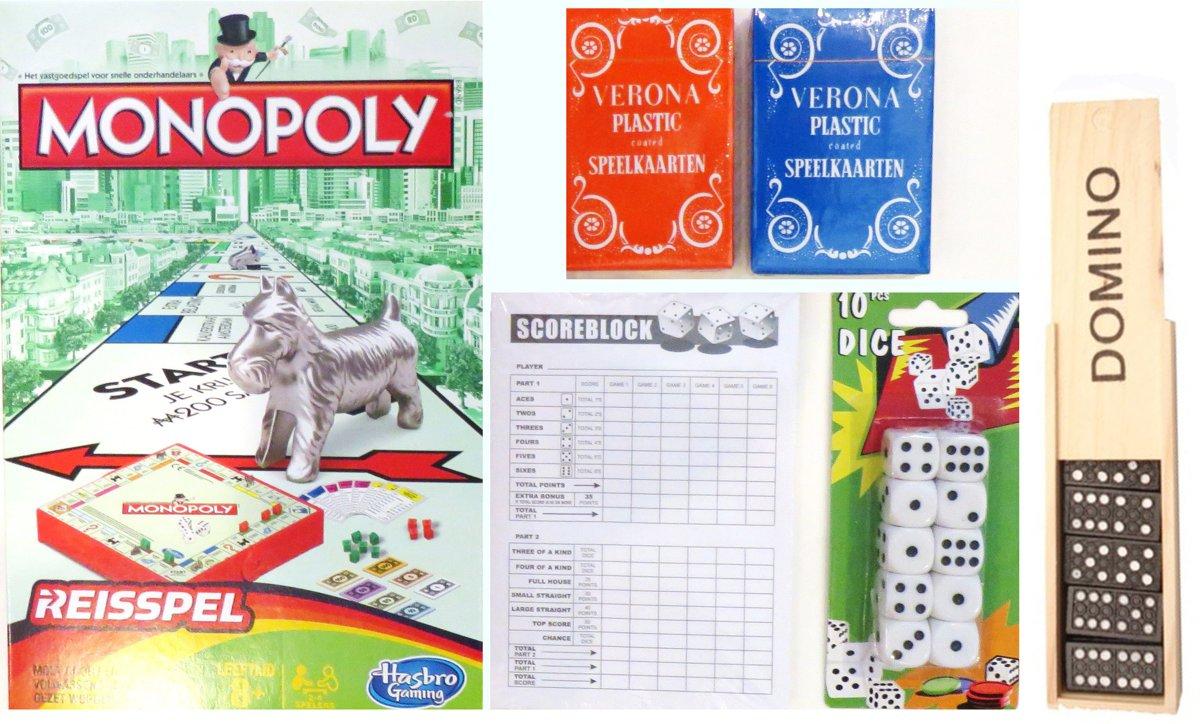 Vakantie Reis spelletjes pakket. Spel Monopoly reis editie – Yatzee score kaarten – 10 dobbelstenen – 2 pakken speelkaarten.