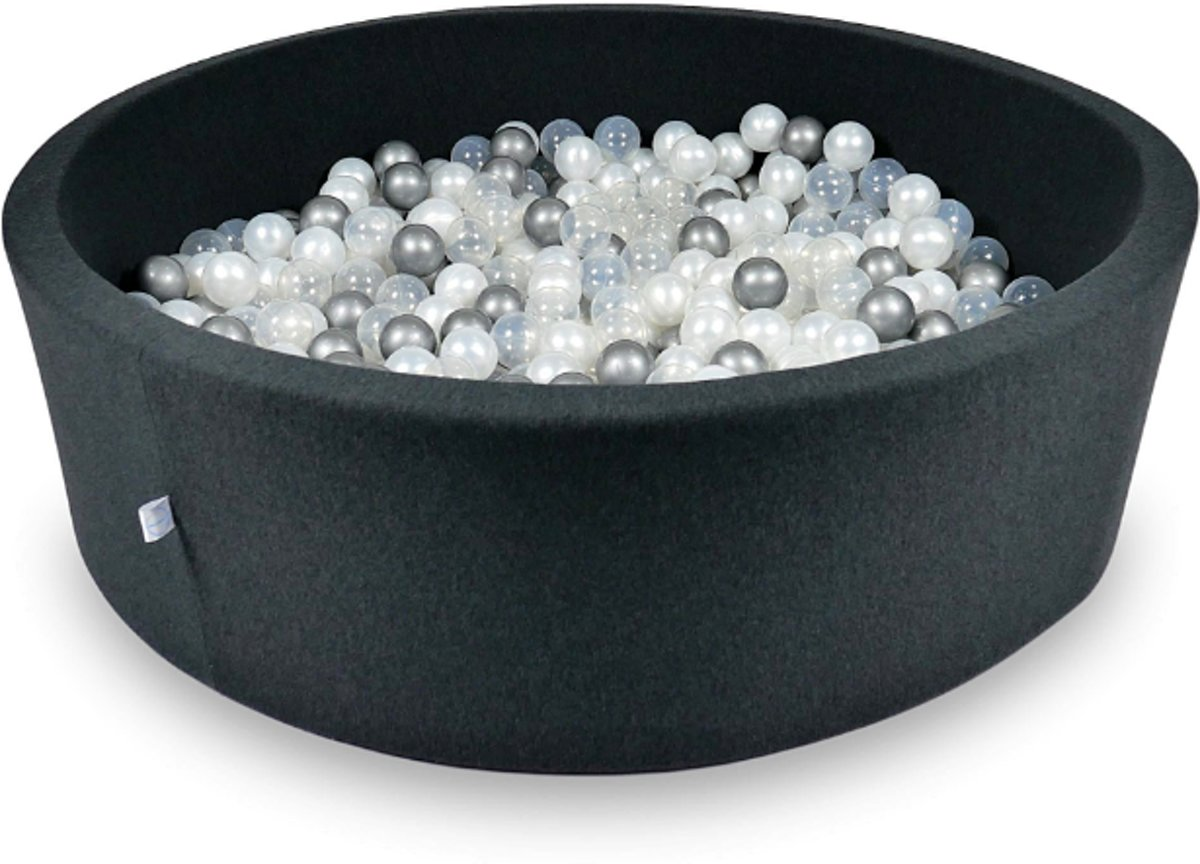 Ballenbak XXL - 700 ballen - 130 x 40 cm - ballenbad - rond zwart