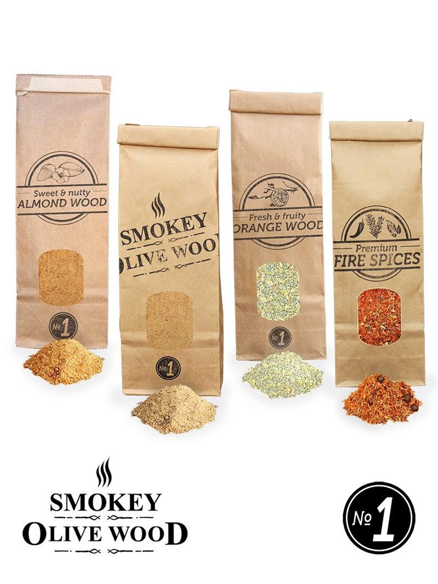 Smokey Olive Wood - Rookmot - Selectie en vuurkruiden - Olijf/Beuk - Amandel - Sinaasappel en vuurkruiden - 4 X 300ml kopen