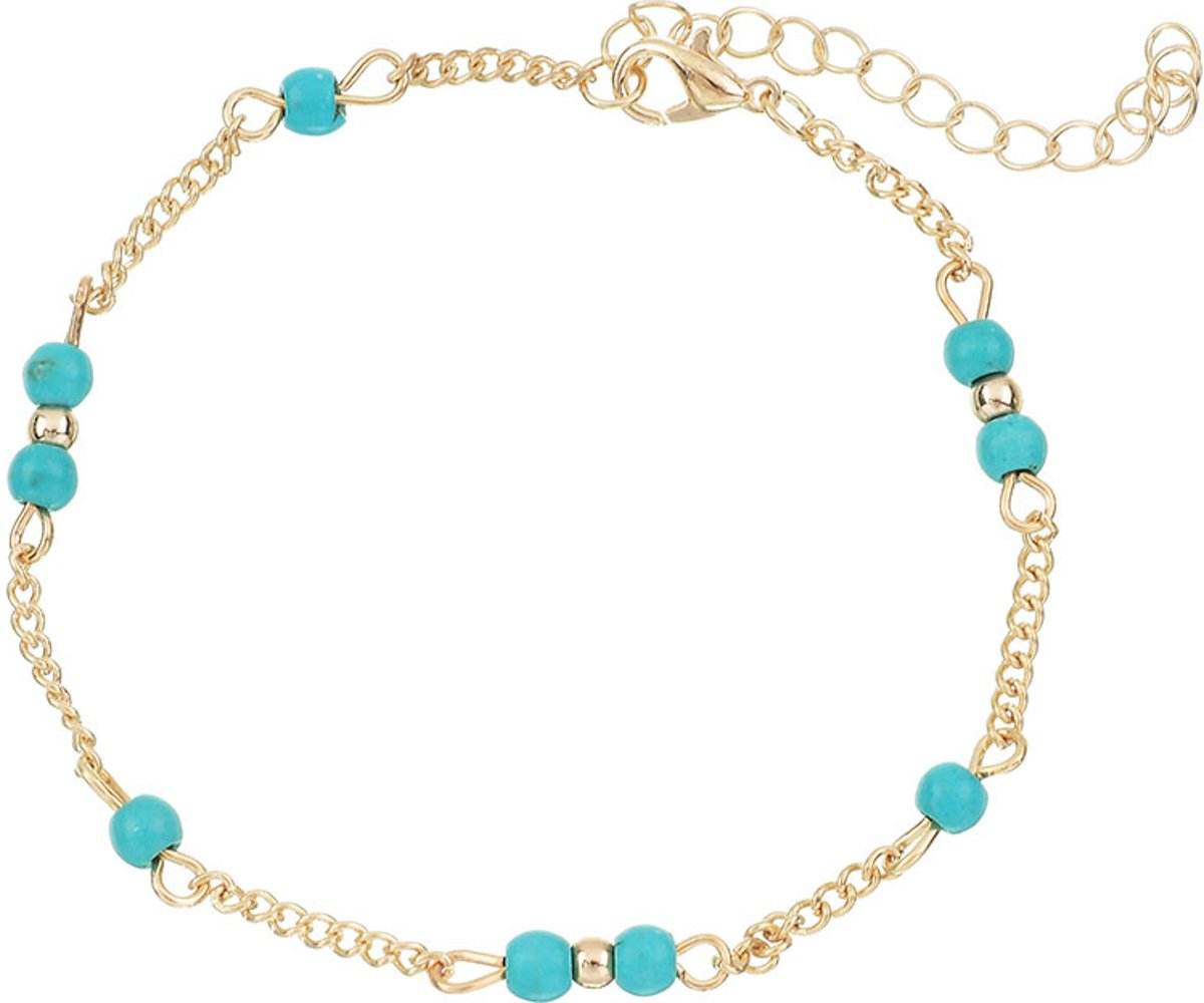 Armbandjes direct - Enkelbandje Turquoise kralen goud kopen