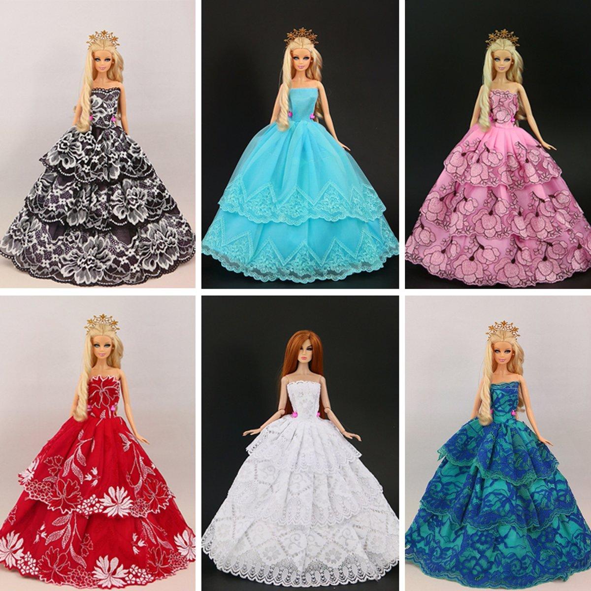 B-Merk Barbie 5  trouwjurken pakket, met 10 paar schoenen, 5 kledingsets