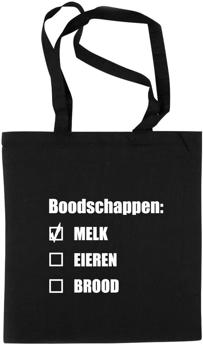 Katoenen boodschap tasje Zwart 42 x 38 cm - boodschappentas / shopper / draagtas kopen
