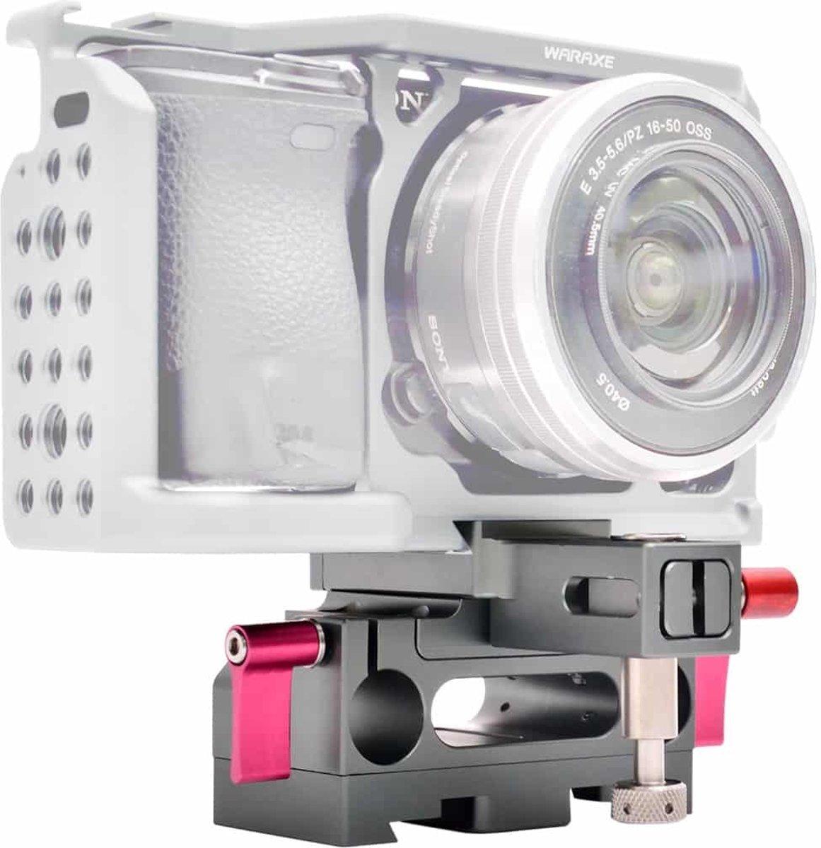 WARAXE 2631 Rig grondplaat met Arca Style zwaluwstaart klem voor Sony GH4 / GH5 / A7 / A6 camerakooi, 15 mm Rod Hole kopen
