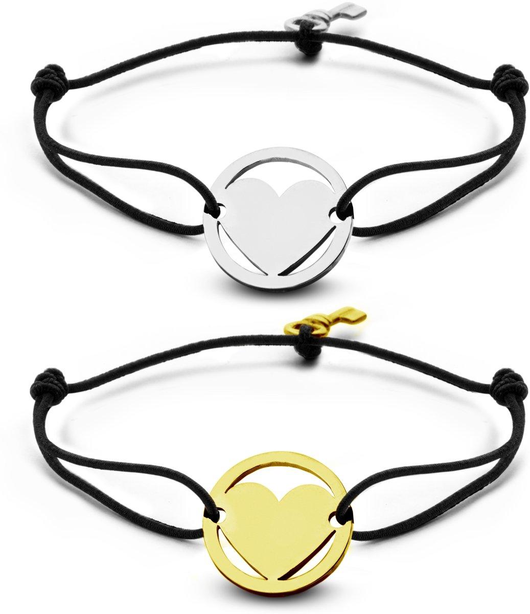 Key Moments 8KM-C00001 - Duo armband met stalen hart en sleutel - one-size - zilverkleurig / goudkleurig